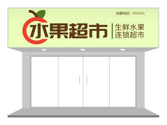 黄色水果生鲜超市店铺门头/招牌设计