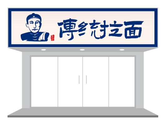 蓝色传统中式餐饮门头设计