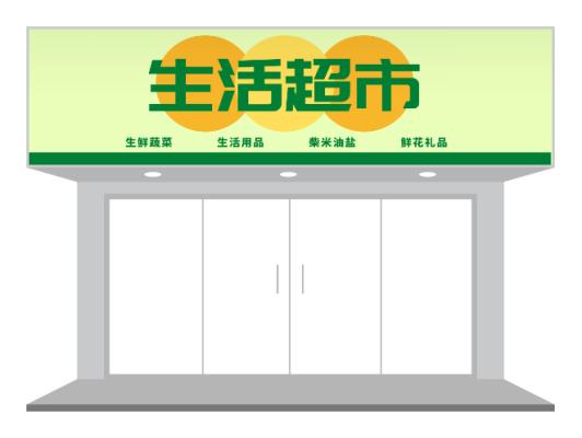黄绿色简约超市店铺门头招牌设计