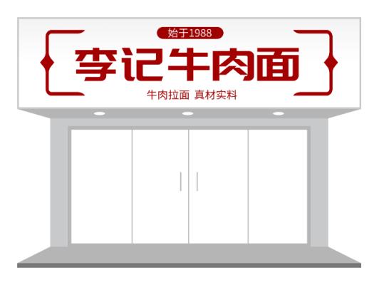 红色餐饮牛肉面面馆门头/招牌设计