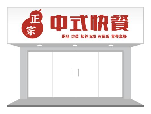 红色简约正宗中式快餐门头招牌设计