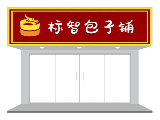 红色传统餐饮早餐店包子铺门头招牌设计