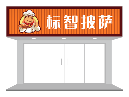 橙色简约西餐厅门头招牌设计