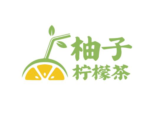 卡通柚子柠檬饮品清新图标标志logo设计