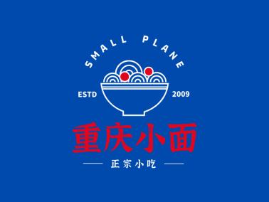 重庆小面国潮中式面馆图文结合图标标志logo设计