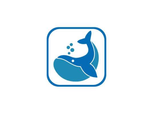 时尚炫酷APP图标鲸鱼标志logo设计