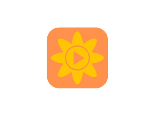 可爱清新app花太阳播放视频图标标志LOGO设计