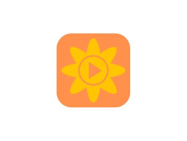 可愛清新app花太陽播放視頻圖標標志LOGO設計
