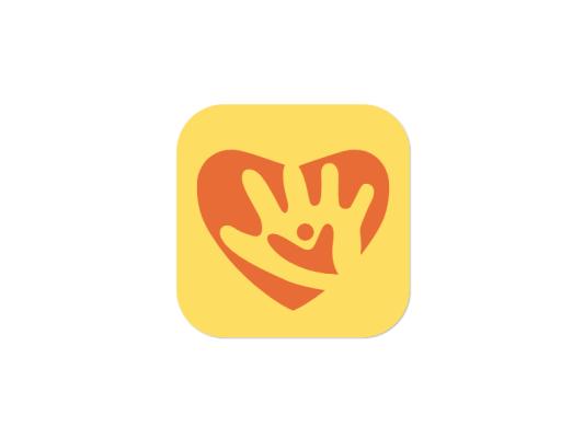 红色爱心童心人物手创意绘画app图标标志logo设计