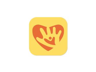 紅色愛心童心人物手創意繪畫app圖標標志logo設計