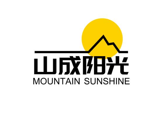 线条创意山太阳公司图标标志logo设计