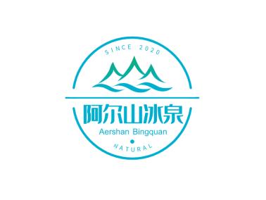 青色清新自然山水自然門頭貼標圖標標志logo設計