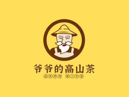 黄色人物农产品茶叶饮品店铺门头图标标志logo设计