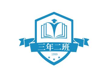 蓝色简约教育书本人物条幅徽章图标标志logo设计