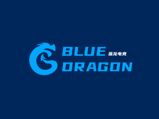 蓝色电竞游戏龙网站站标图标标志logo设计
