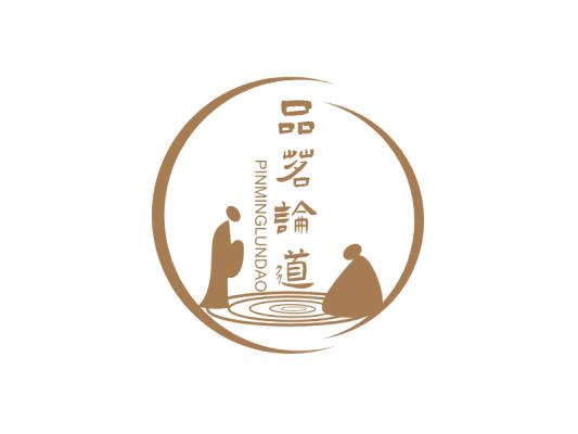 深色几何圆圈古风人物茶馆图标标志logo设计