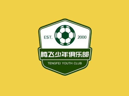 绿色活力足球俱乐部徽章条幅图标标志logo设计