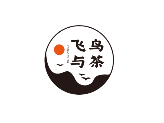 中国风飞鸟与茶自然环境图标标志logo设计