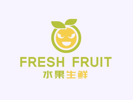 绿色清新简约水果生鲜店铺logo图标设计