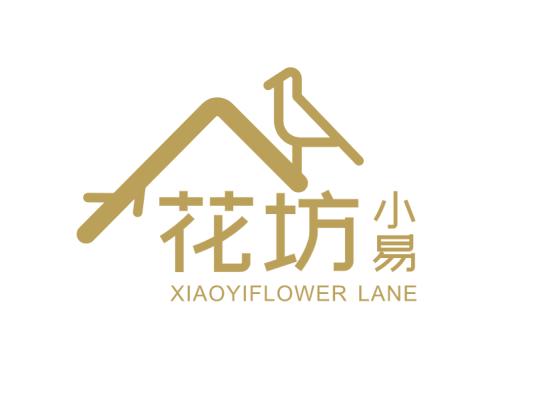 金色建筑动物创意文艺花坊logo设计