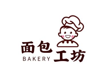 棕色卡通人物厨师美食烹饪图标标志logo设计