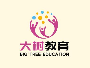 图文结合大树教育人物图标标志logo设计