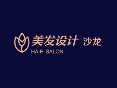 深色简约高端美发沙龙图标标志logo设计