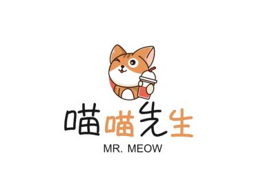 卡通猫咪饮品奶茶图标标志logo设计