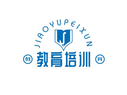 创意蓝色书本教育公司徽章商标图标logo设计