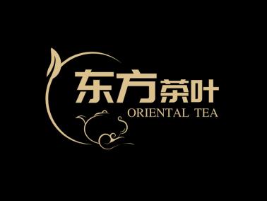 复古中式壶叶子图标标志logo设计