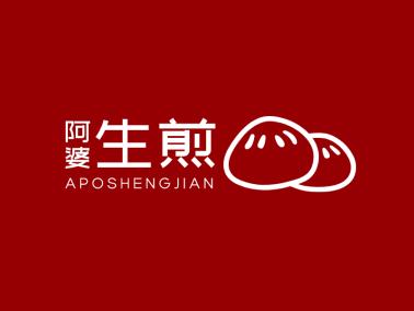 红色中式传统卡通包子图标标志logo设计