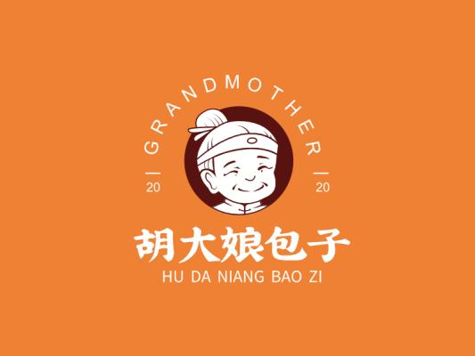 橙色胡大娘包子店铺门头图标标志人物LOGO设计