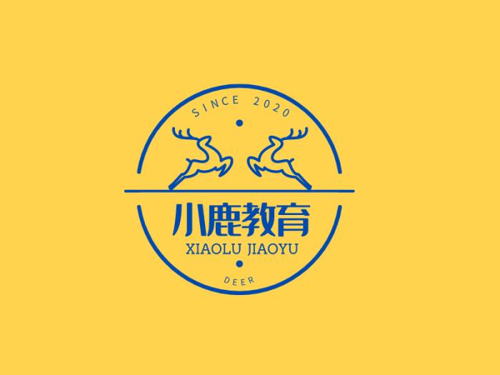 黄色简约活泼幼儿教育徽章图标标志LOGO设计
