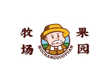 农夫卡通造型牧场果园logo设计
