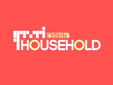 红色格子简约商务家居装饰 logo设计