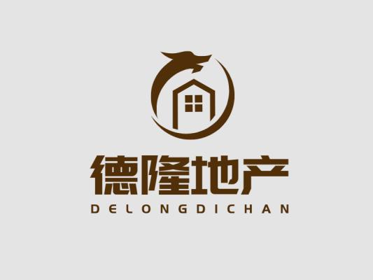 深色简约德隆地产logo设计