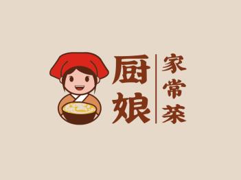 卡通可爱厨娘人物家常菜美食logo设计