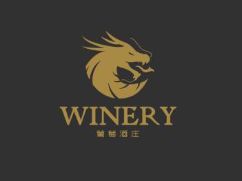 深色酷炫创意葡萄酒庄龙头logo设计