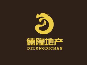 深色传统简约德隆地产龙形logo设计