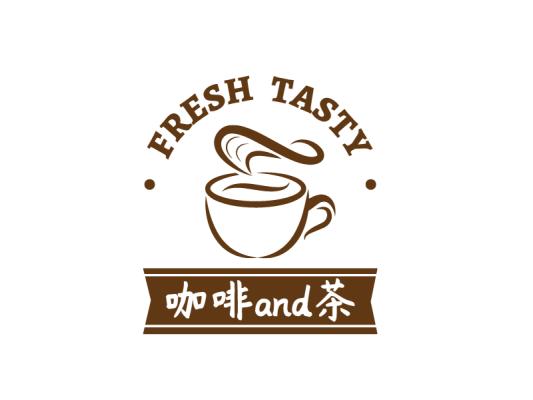 棕色简约咖啡奶茶徽章logo设计