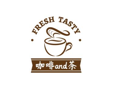 棕色簡約咖啡奶茶徽章logo設計