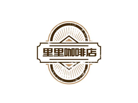 深色几何圆圈线条咖啡徽章店铺产品商标门头图标标志logo设计