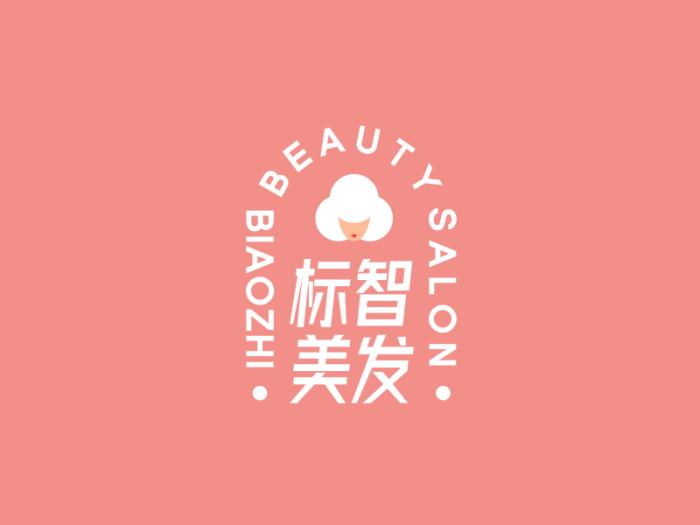 浅色创意理发店店铺logo设计