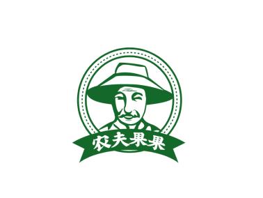 绿色农庄果园农夫果果人物剪影logo设计