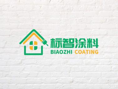 绿色清新简约创意涂料油漆房子家居装修店铺logo设计