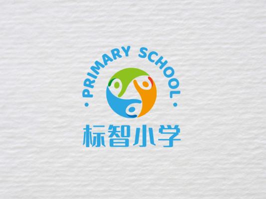 蓝色活泼小学班级校园徽章logo设计