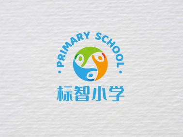 藍色活潑小學班級校園徽章logo設計