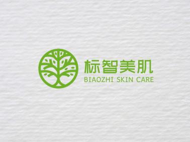 绿色清新美容院植物logo设计