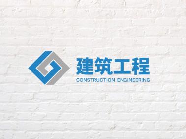 蓝色灰色方形链条简约建筑logo设计