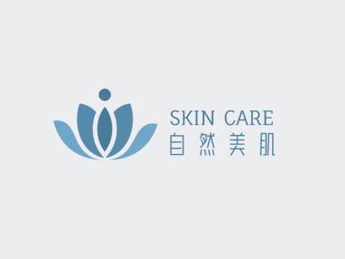 青色简约高级美妆店铺logo设计